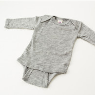 Engel Baby Bodystocking Langærmet Uld/Silke Grå