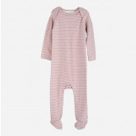 Serendipity Baby Suit Stripe Woodrose/Off White